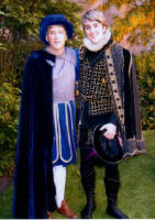 Picture of Simon the Groom with his Father at the  Elizabethan and Tudor Themed Fancy Dress Wedding