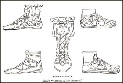 Roman costume history - Footwear - Gladiator sandals- Hope's 'Costume of the Ancients.'