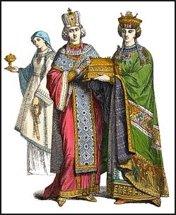Byzantine Empress with princess and a servant girl in background.