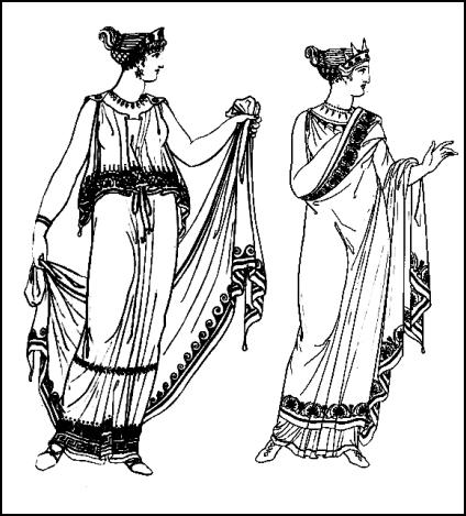 Grecian dress. Feminine Greek chiton costumes worn by women of ancient Greece.