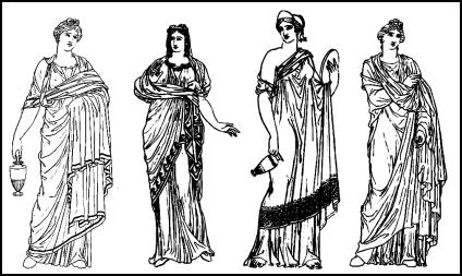 Hope's Antiquities - Grecian costume/dress for women.