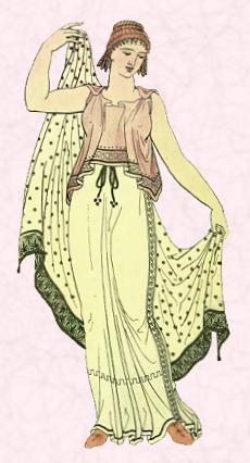 Fashion History Image - Ancient Greece Costume - The overall look for both women and men is one of fabric drapery created by the chiton a garment which for most occasions reached the feet.