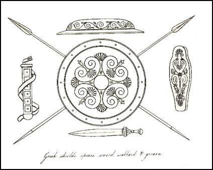 Ancient Greek shield, psears and knives used for warfare.