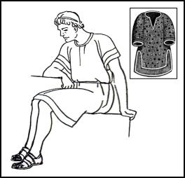 Line drawing of Roman slave in tunic.