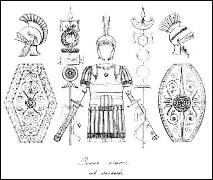 Soldier uniform - Roman shields and other armour for battle.