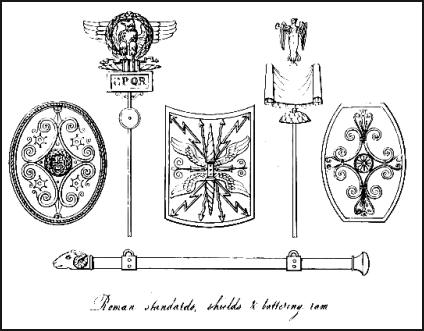 Typical decorative scrollwork patterns for ancient Roman shields.