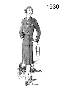 1930 Fashion History - Figure L2507 portrays a coat and skirt of a strictly tailored character - neat, plain, and chic