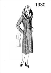 1930 Costume History - Figure L2520 presents a stylish long coat made of tweed, and trimmed with fur collar.