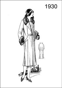 1930 colouring-in picture - A fur-trimmed coat is reproduced on Figure L2523, with a rather long shoulder cape behind