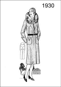 1930 women's wear coat - A check coat of novel design is introduced on Figure L2527 with fur collar