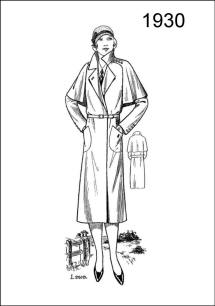 1930 fashion history picture. A fashionable caped coat is depicted on Figure L2519, made in the wrap style and to fasten with belt.