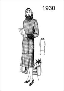 1930 fashion. Figure L2528 delineates a coat and skirt trimmed with astrakhan on collar and cuffs