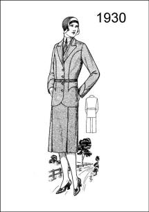 A 1930 coat and skirt are featured on Figure L2529 with curved seams on fore parts and cuffs.