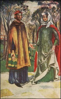 COSTUME - A MAN AND WOMAN OF THE TIME OF EDWARD I. 1272-1307