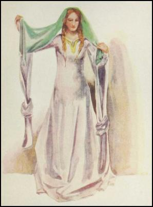 Colour Costume Plate - A WOMAN OF THE TIME OF STEPHEN (1135-1154)
