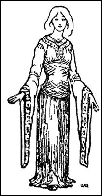 Lady in robe with long sleeves. Costume of the 12th century.