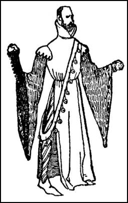 High-collared houppelande with the long skirt.