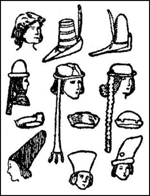 Mens Hats - Late Medieval Era.