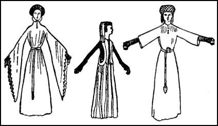 A houppelande with wide, hanging sleeves all cut at the edge.