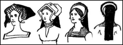 Diamond Shaped Tudor Headdress Hairstyle Drawings.