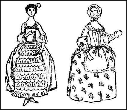 Colouring-in - C18th Hoop Skirt Dress Lady