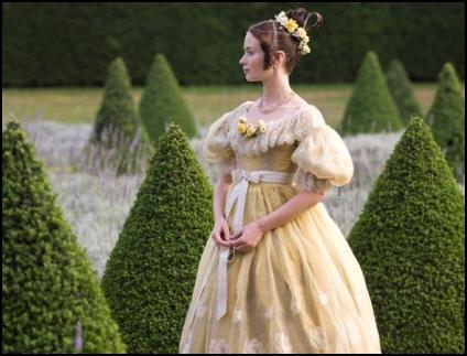 Dresses worn by Emily Blunt in the movie include a yellow silk taffeta gown, which was worn to the banquet for the King�s birthday. Sandy Powell costume.