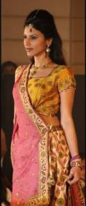 Inidan Fashion - Pink Gold Sari Choli