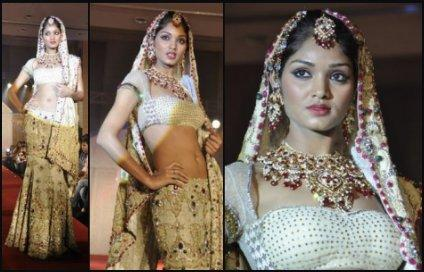 Catwalk Model Wears Lehenga Choli - Vibrant Fashion Week Gujarat India 2010