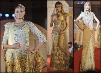 Traditional Indian Lehengas - Creams and Gold