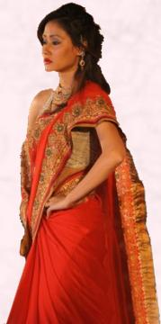 Pure Gold Jari Red Sari - Vibrant Fashion Week Gujarat India 2010