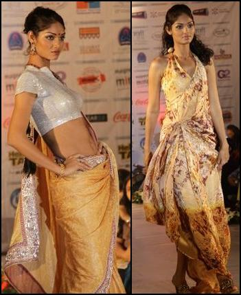 Gold Indian Sari and Halter Dress.