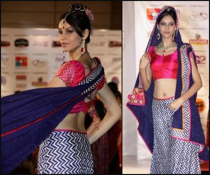 Chevron Pattern Lehenga Skirt and Choli
