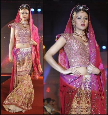 Fishtail Lehenga - Pink & Gold