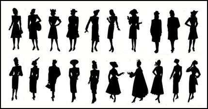 Black Cameo Style Costume History Costume Silhouettes 1940-1950