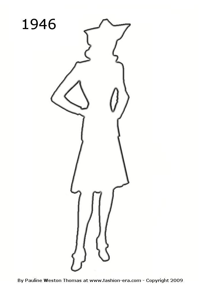 Line Silhouettes In Fashion Design : Costume history silhouette outlines s free drawings