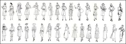 These dresses range from 1940 -1944 at the top left to right and 1946 to 1950 from the bottom left to the bottom right.
