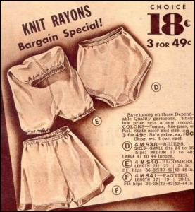 Rayon Briefs, Bloomers & Panties Advertisement.